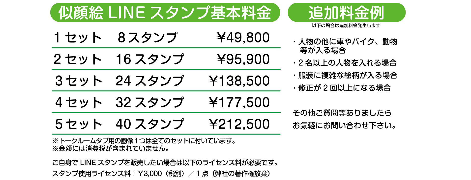 料金の目安 1set ¥49,800 2set ¥95,900 3set ¥138,500 4set ¥177,500 5set ¥212,500